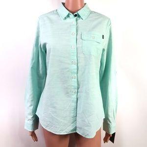 Jetty Light Teal 100% Cotton Button Down Shirt NWT